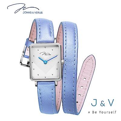 J&V-My Queen執我系列-環繞皮帶休閒方形女錶-紫 X02059-Q3.WWWLL
