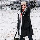 升溫禦寒保暖科技羽絨棉假兩件抽繩連帽長版外套-OB大尺碼