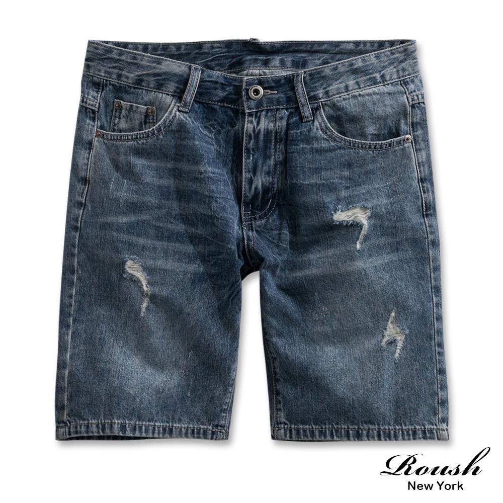 Roush 水洗抓痕刷破牛仔短褲