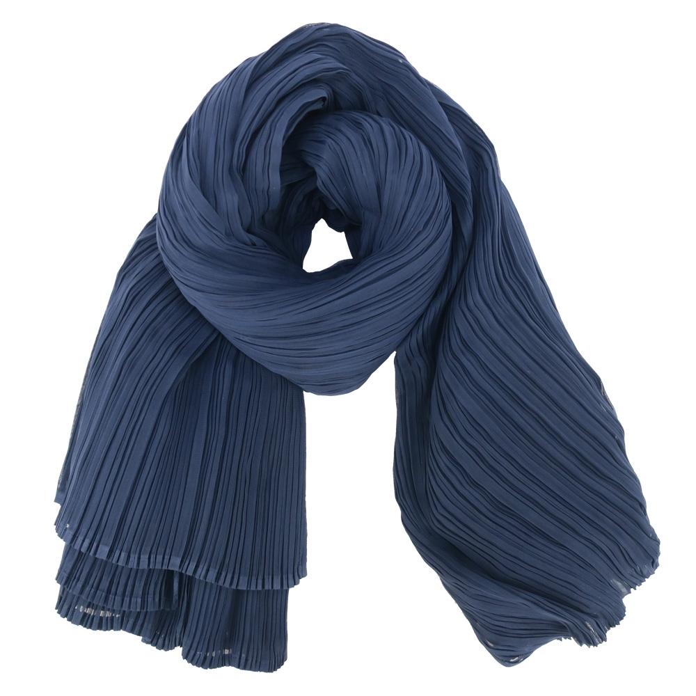 ISSEY MIYAKE 三宅一生 PLEATS PLEASE 素面圍巾/罩衫(深藍)