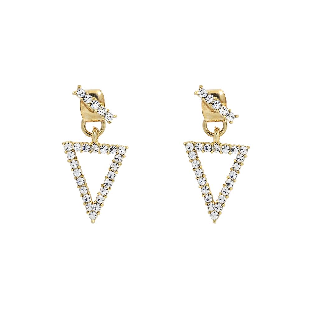 LOVERS TEMPO加拿大品牌 三角造型鑲嵌水晶 金色耳環