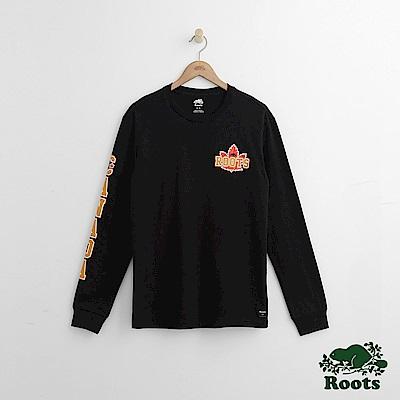 Roots 男裝-右臂字標長袖T恤-黑色