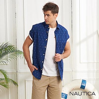 Nautica造型圖騰合身版短袖襯衫-藍色