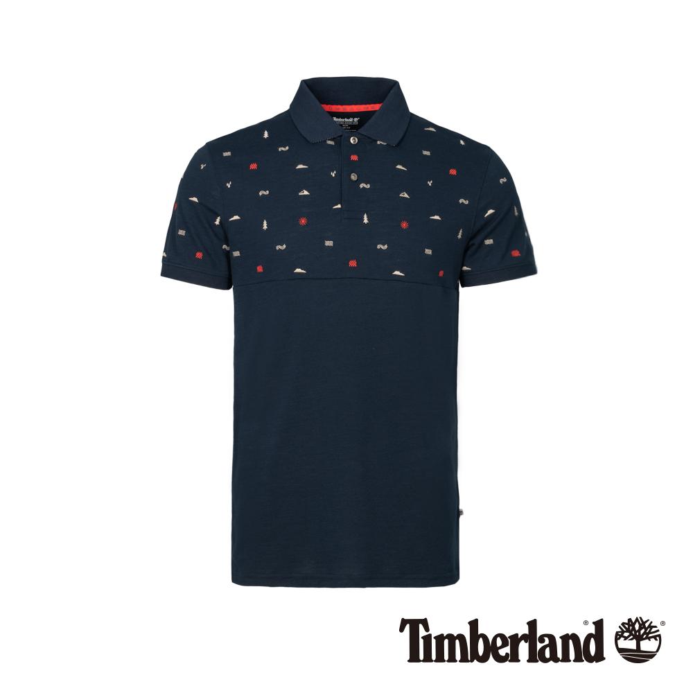 Timberland 男款深寶石藍刺繡防紫外線短袖POLO衫|A1XDE