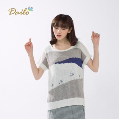 【Dailo】色塊簡約圓領短袖針織衫(三色)