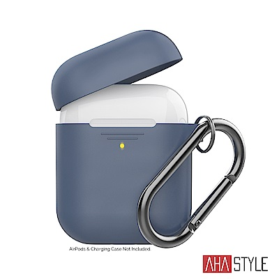 AHAStyle AirPods 1&2代矽膠保護套-深藍色 掛勾款 1.4mm超薄款