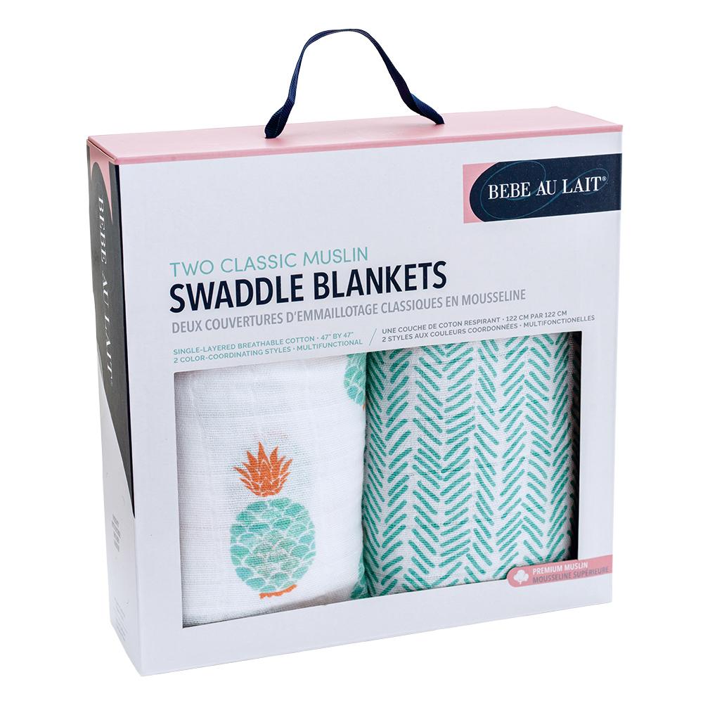 美國 Bebe Au Lait 經典棉紗布嬰兒包巾2入禮盒 (多種款式)