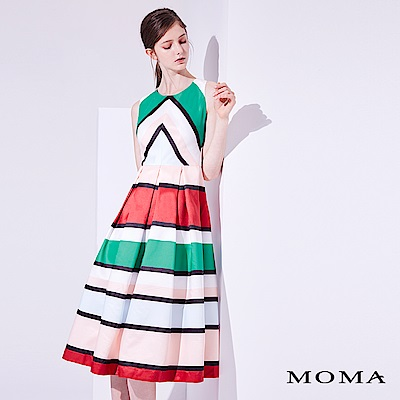 MOMA 撞色復古洋裝