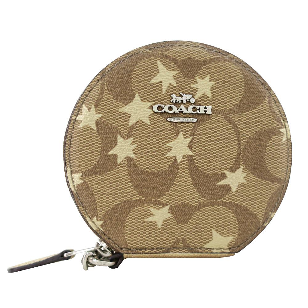 COACH 馬車C LOGO星星楓葉PVC鍊帶手掛零錢包(卡其)COACH