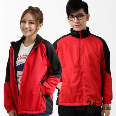 【遊遍天下】中性款騎士風格雙色防風刷毛外套 K009紅黑