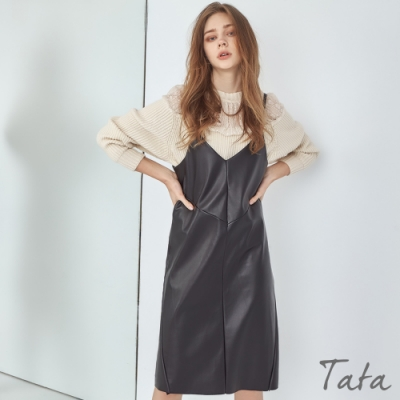 V領吊帶連身皮裙 TATA-F
