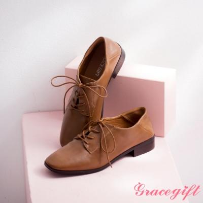 Grace gift-方頭綁帶低跟2way牛津鞋 淺棕