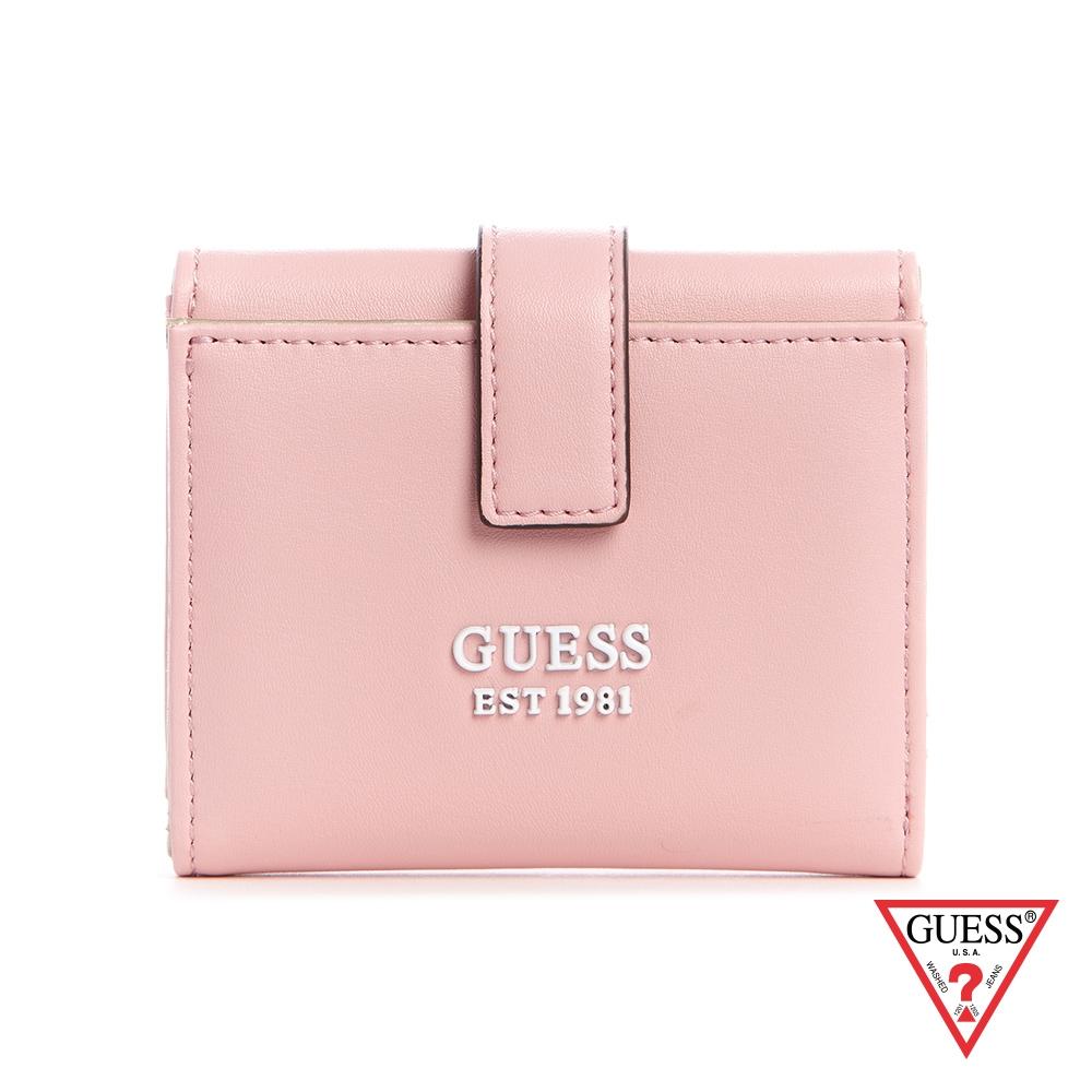 GUESS-女夾-時尚LOGO三折式短夾-粉 原價1090