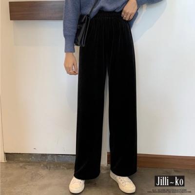 JILLI-KO 鬆緊垂墜感高腰闊腿褲- 黑色
