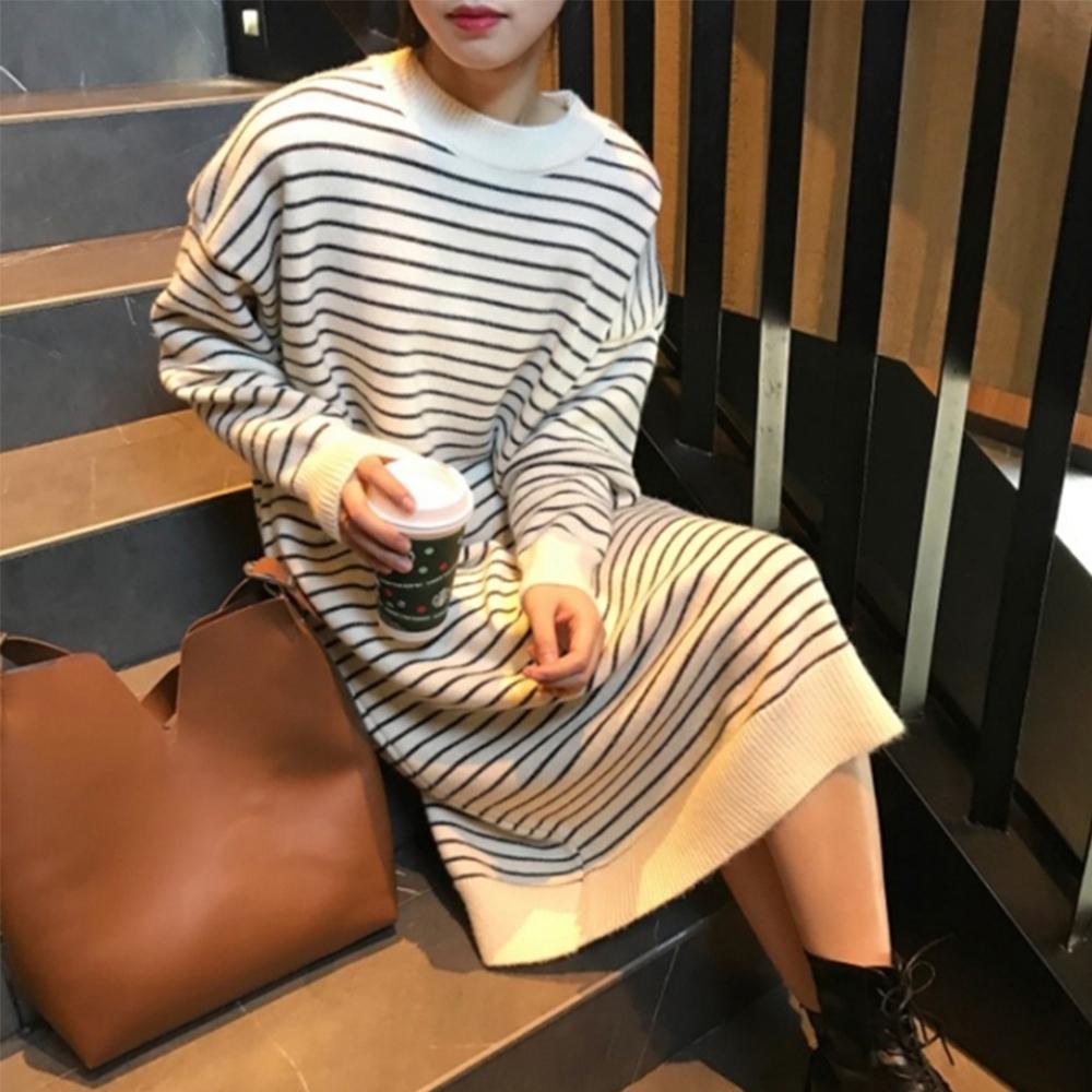 知性系列韓版寬鬆條紋長袖針織設計感洋裝-設計所在