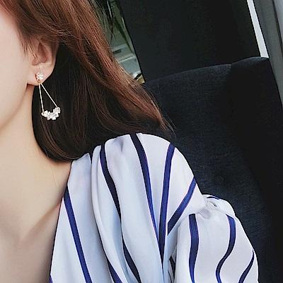 梨花HaNA 韓國925銀輕奢優雅法式貝殼花朵耳環