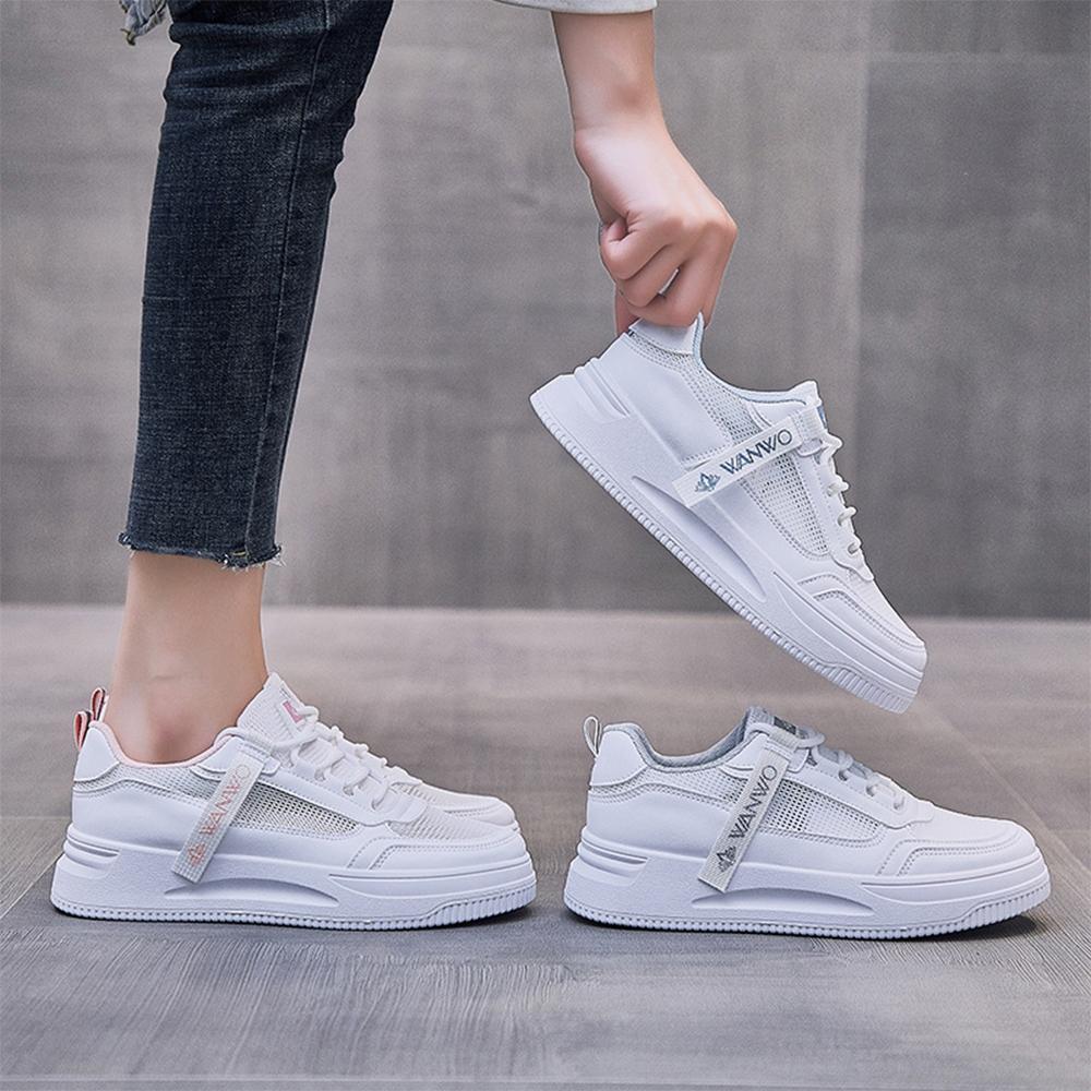 LN  現+預 韓版透氣網面織帶小白鞋(休閒鞋/平板鞋) (白灰色)