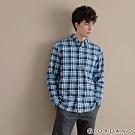 GIORDANO 男裝法蘭絨溫暖磨毛長袖襯衫-23 寶藍/藍/白格紋