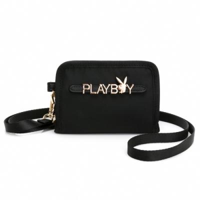 PLAYBOY- 短夾(頸掛繩)  Function系列 -黑色