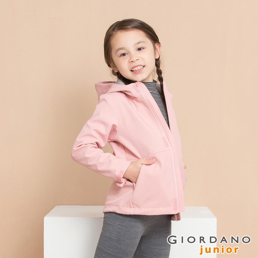 GIORDANO  童裝反光LOGO連帽防風外套-26 薄紗粉紅