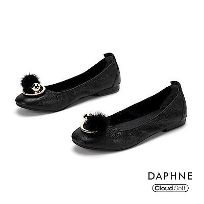 達芙妮DAPHNE 平底鞋-舒軟牛皮甜美娃娃鞋-黑