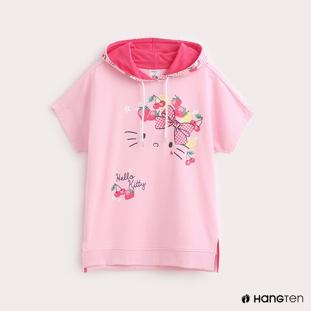 Hang Ten-Sanrio-女裝Hello Kitty印花格紋連帽T恤-粉