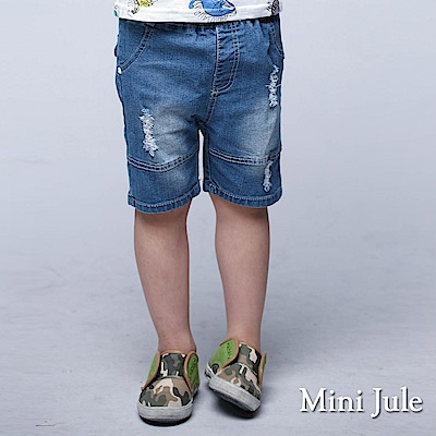 Mini Jule 童裝 短褲 拼接刷色鬆緊短褲(藍)