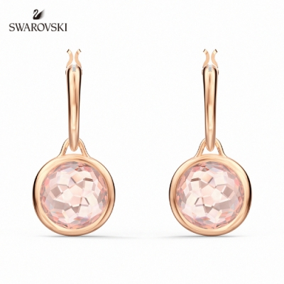 SWAROVSKI 施華洛世奇 Tahlia 玫金色典雅粉紅水晶穿孔耳環