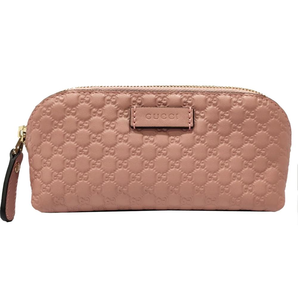 GUCCI 經典Guccissima GG壓紋牛皮拉鍊化妝包(粉色)
