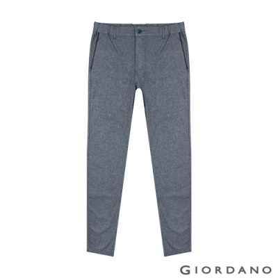 GIORDANO 男裝鬆緊腰素色修身休閒九分褲-88 細格紋海軍藍