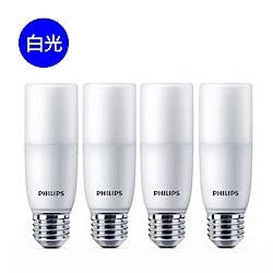 【飛利浦 PHILIPS】LED Stick E27 7.5W廣角燈泡-白光4入組