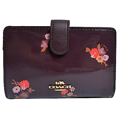 COACH 立體馬車LOGO漆皮亮彩花卉圖案拉鍊袋釦式中夾-深咖啡色