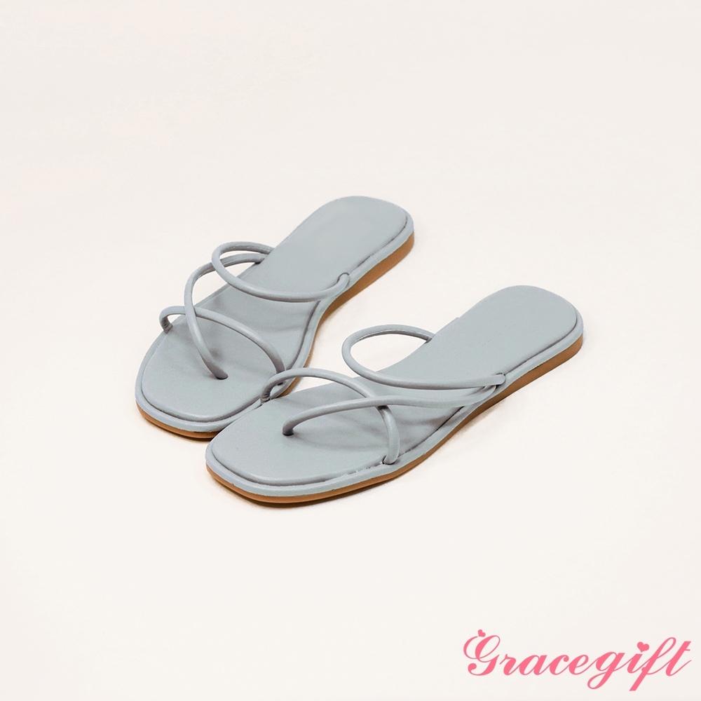 Grace gift-交叉夾腳細帶平底涼拖鞋 淺藍