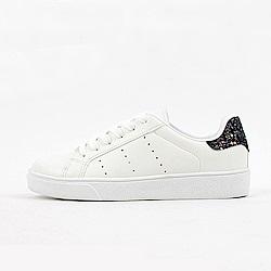 【AIRKOREA韓國空運】運動風綁帶皮革質感休閒鞋-黑白