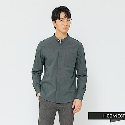 H:CONNECT 韓國品牌 男裝-簡約開扣中山領襯衫-藍