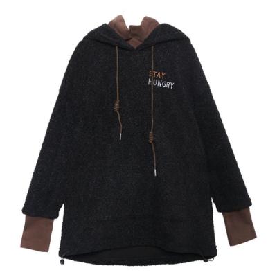 冬季羊羔絨保暖假兩件套頭連帽T恤F(共二色)-CLORI