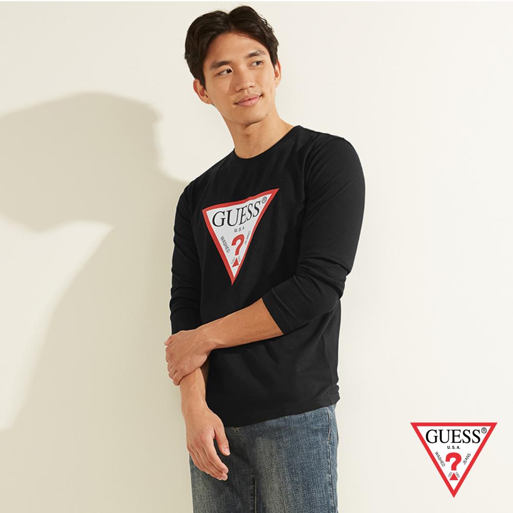 GUESS-男裝-經典倒三角LOGO長袖T恤-黑 原價2490