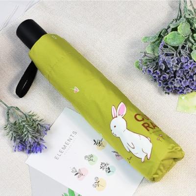 【雙龍牌】好奇兔降溫13度黑膠自動傘自動開收傘晴雨傘B6290NC-抹茶綠