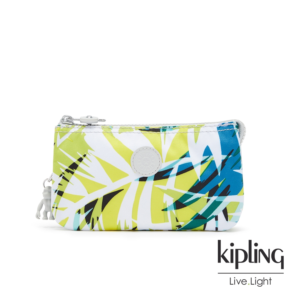 Kipling 手繪棕櫚樹印花三夾層配件包-CREATIVITY L