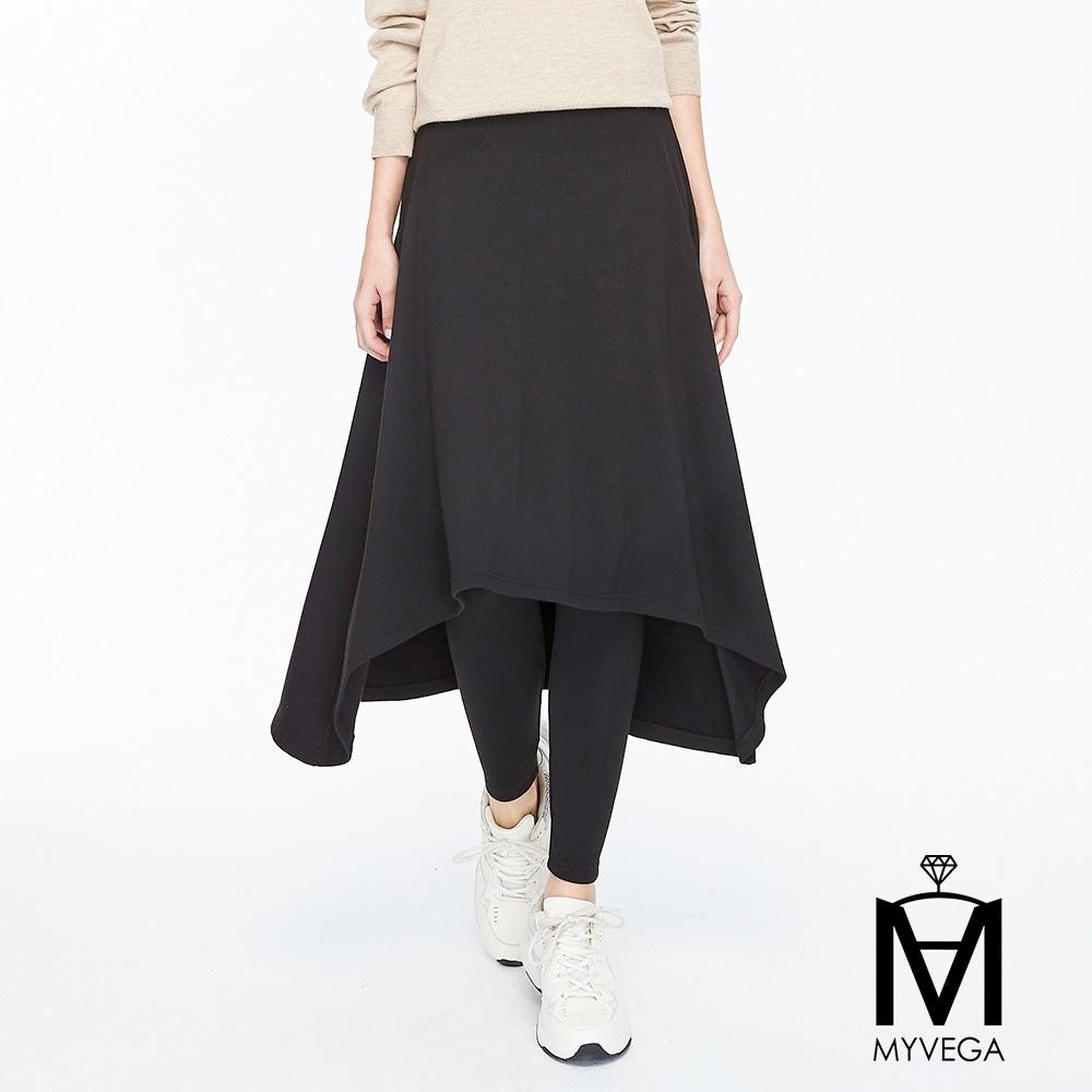 麥雪爾 MA厚綿鬆緊腰身假兩件裙褲-黑