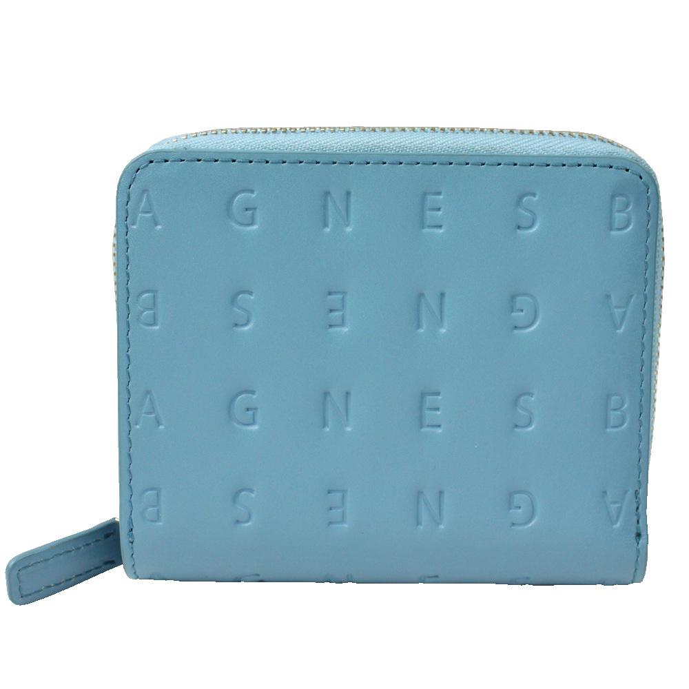 agnes b.LOGO壓印皮革拉鍊中夾(藍綠色)