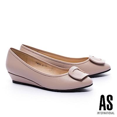 低跟鞋 AS 典雅質感方釦羊皮楔型低跟鞋-粉