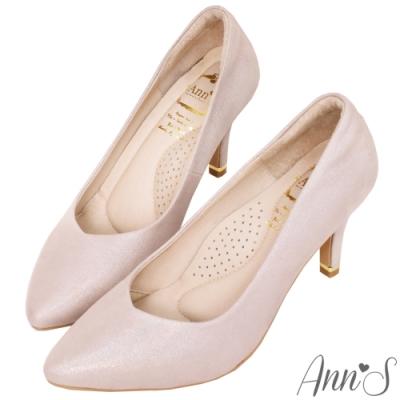Ann'S閃耀天鵝湖3D氣墊顯瘦V型全真皮尖頭跟鞋-玫瑰金