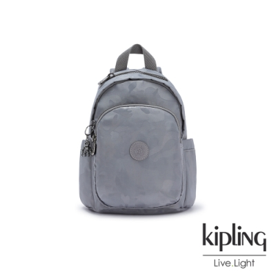 Kipling 光澤霧灰紫迷彩拉鍊式小巧收納後背包-DELIA MINI