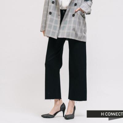 H:CONNECT 韓國品牌 女裝 -不收邊修身寬褲-黑