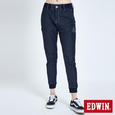 EDWIN JERSEYS 迦績 PK EJ6 涼感透氣 運動束口牛仔褲-女-原藍色