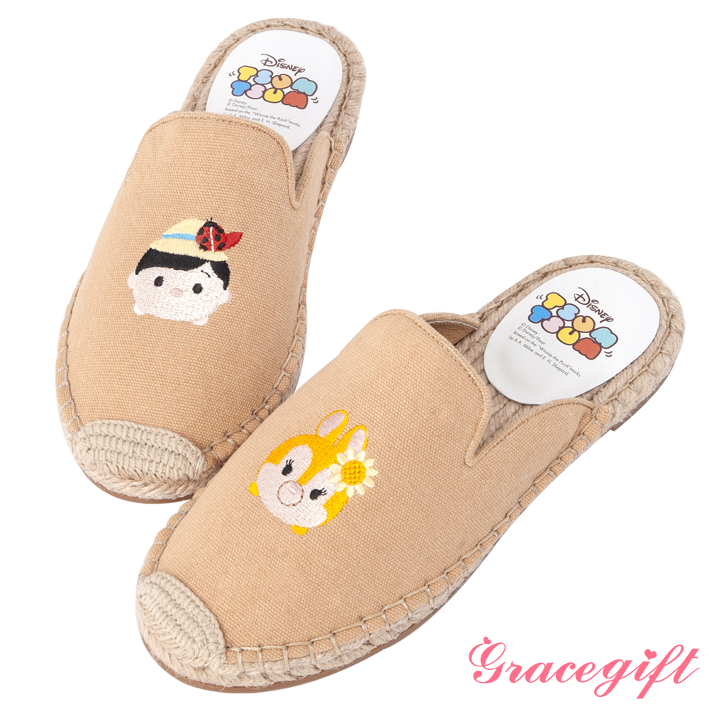 Disney collection by grace gift帆布麻編懶人拖鞋 淺棕