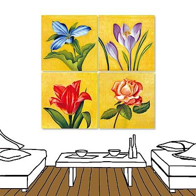 橙品油畫布 四聯式插畫風無框畫-花卉3 30x30cm