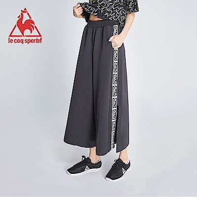 le coq sportif 法國公雞牌COQ系列織帶設計針織開衩九分褲 女-黑