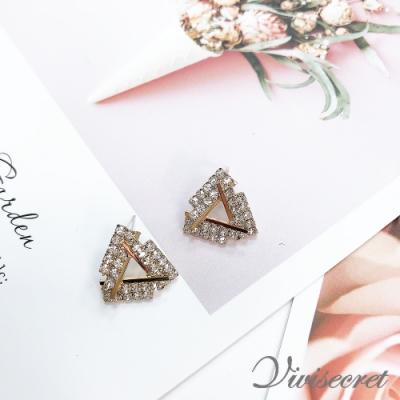 VIVI SECRET 三角形交叉鑲鑽幾何耳環